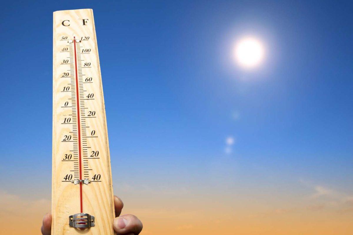 14394425 - hand holding thermometer and heat weather