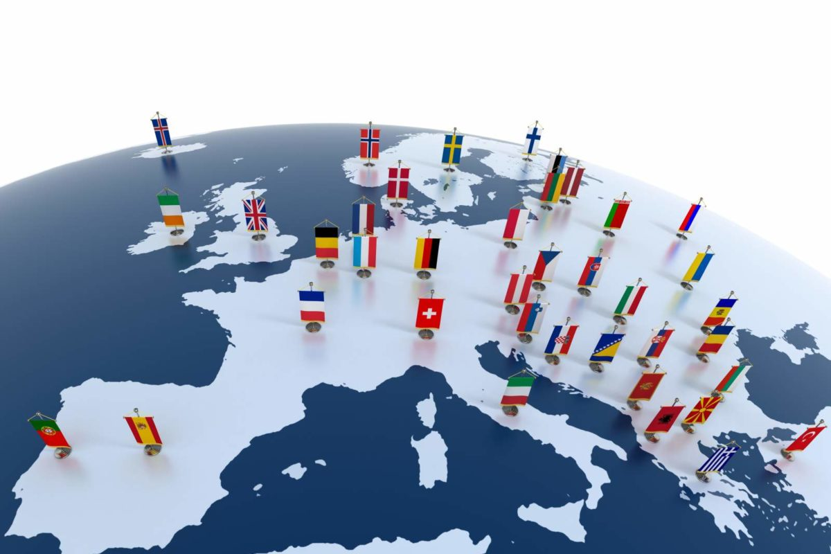 12557547 - european countries 3d illustration - european continent marked with flags