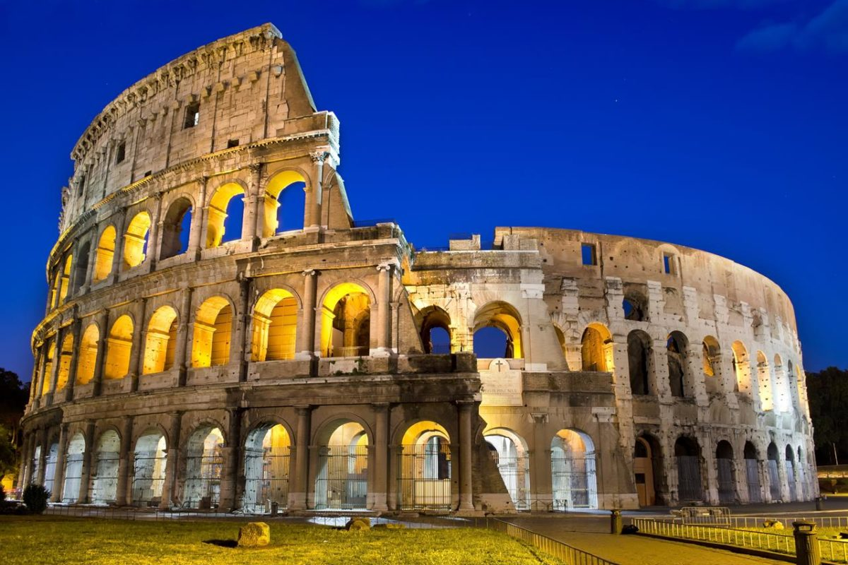 9532947 - ancient roman colosseum at dusk, rome, italy